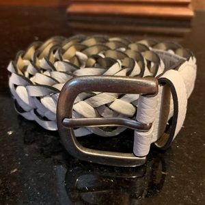 Accessories - NEW Leather Braided White Belt